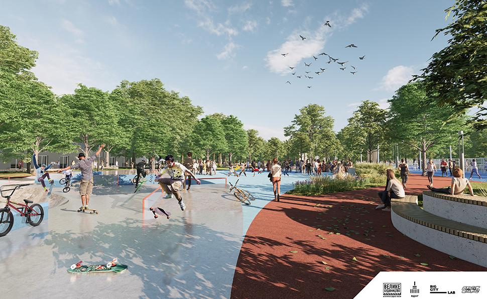 Урбан-парк, бігові доріжки, басейн та баскетбольні майданчики
